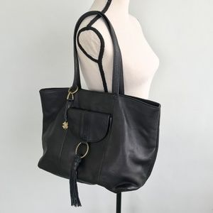 Lucky Brand Black Leather Tassel April Tote